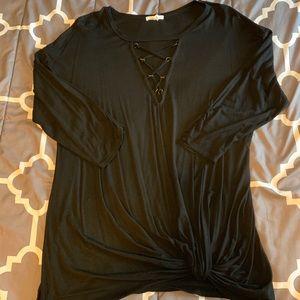 Lattice neck tunic top
